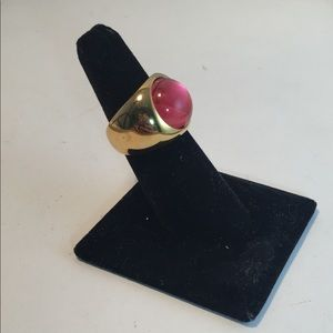 LaLique gold tone sterling pink cabochon ring